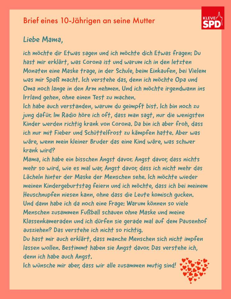Brief eines 10-Jährigen an seine Mutter!