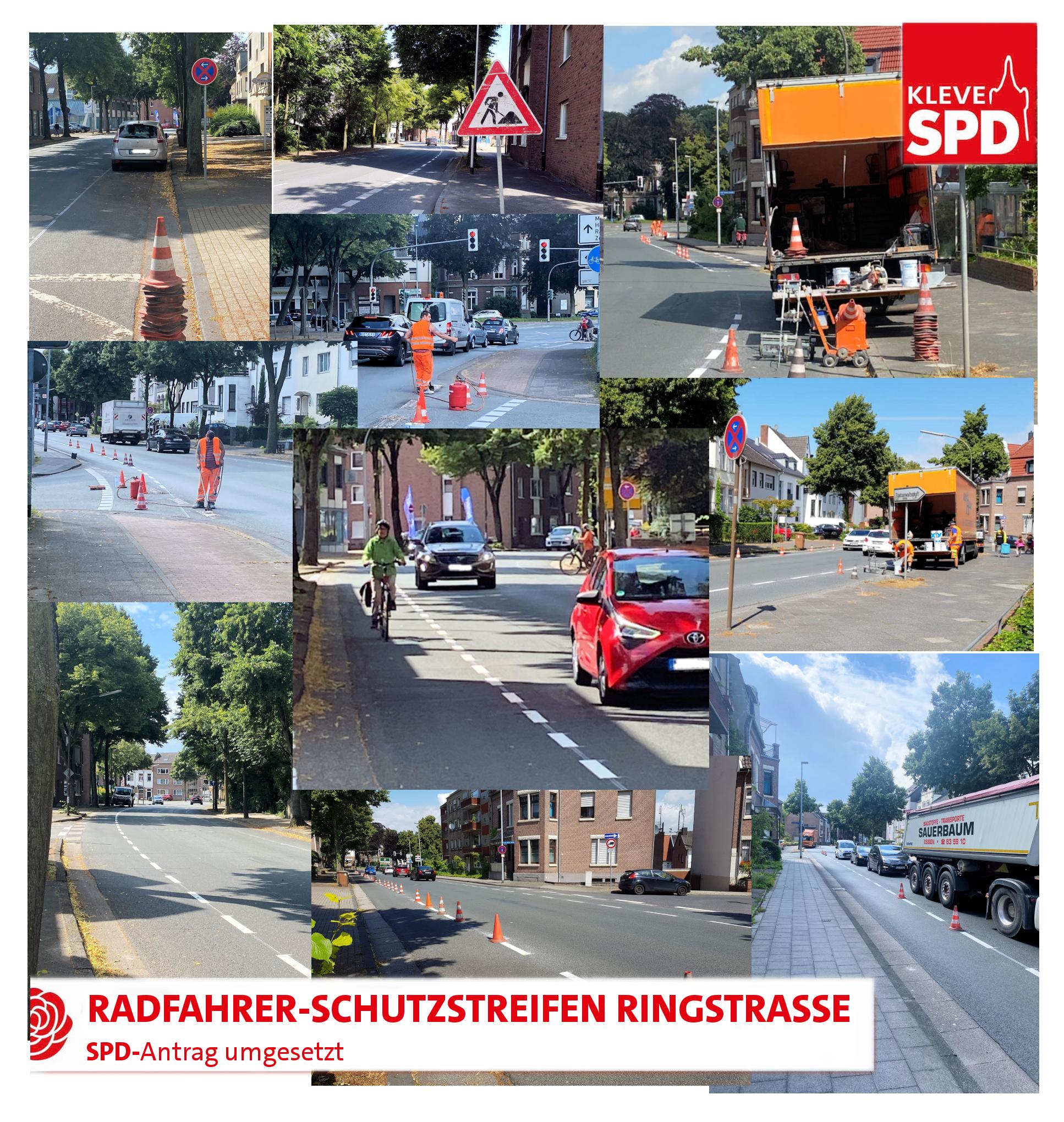 Radfahrer Schutzstreifen an der Ringstraße